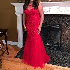 Beautiful long red gown.